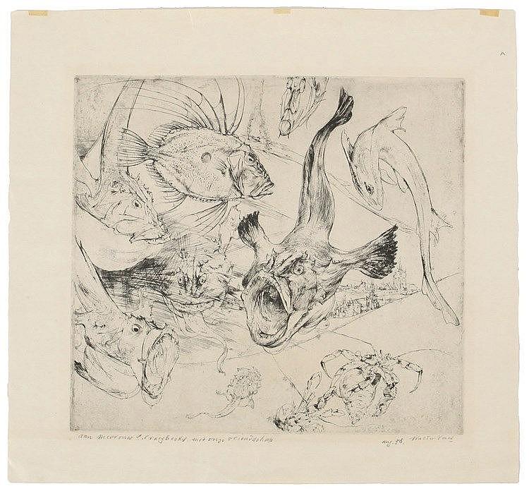 WALTER VAES (1882-1958) Eau-forte et pointe sèche sur simili-Japon. Da