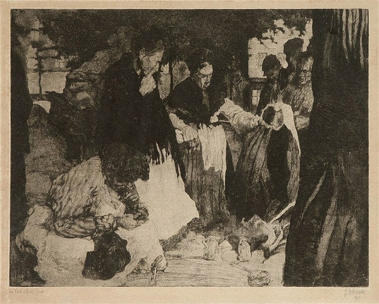 JULES DE BRUYCKER (1870-1945) Etching on simili-Japan. Signed, dated a
