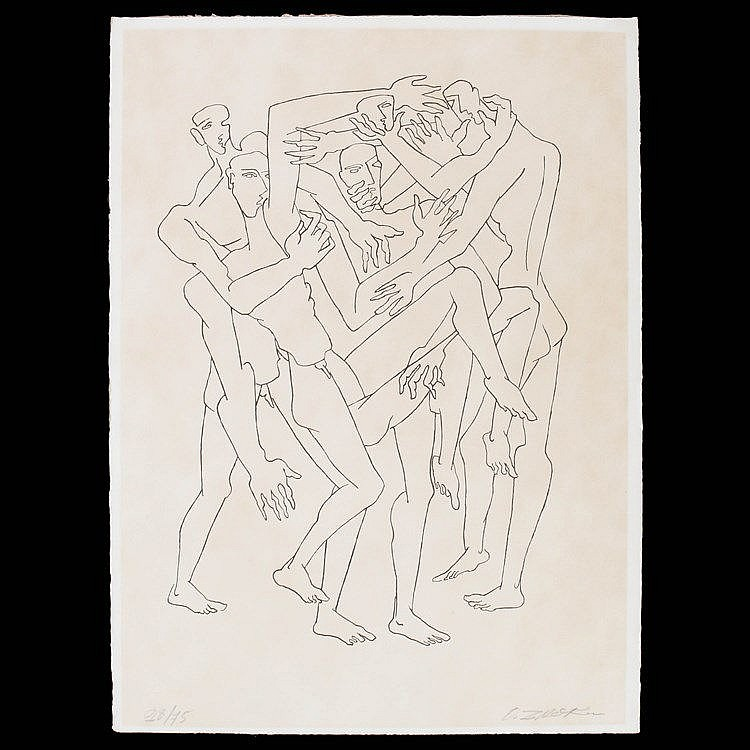 OSSIP ZADKINE (1890-1967) Figures. Lithograph. Signed and numbered. Wi