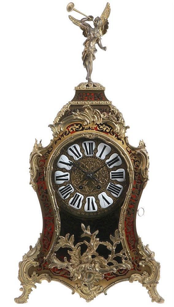 Boulle Bracket Clock Ebonised Wood Veneered With Red Tinted