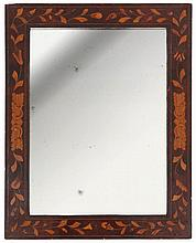 William & Mary mirror of rectangular form. Mahogany veneer with marquetry.