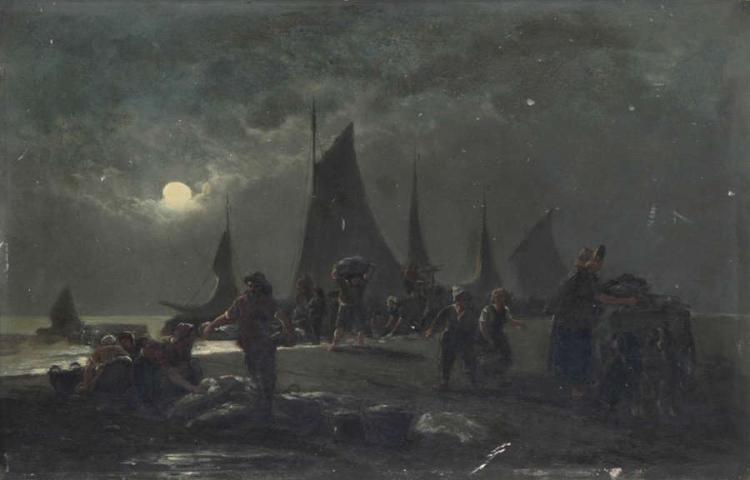 EDWARD MOERENHOUT (1801-1893)        'Le retour des bateaux pëcheurs le soir' (1884)