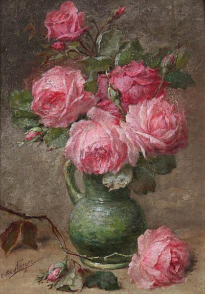 CHARLES DE NAEYER XIX        Still life with roses. Cardboard. Signed 'C.De Naeyer'.