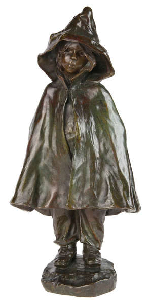 ELISA BEETZ-CHARPENTIER (1875-1949)        Young girl with hooded cloak. Bronze, oli