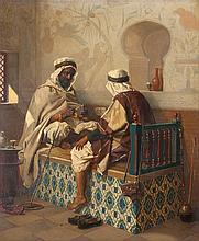 * JEAN-BAPTISTE HUYSMANS (1826-1906)'Algérie/at the coffee shop' Panel (mahogany). Signed 'J.B Huysmans'. Period gilt frame.55 x 45.5