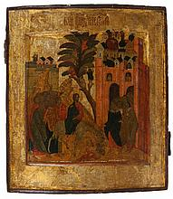 Icon of the Entry of Christ into Jerusalem. Tempera on panel. Late 17th/early 18th century, probably Moscow. Certificate: Tóth Ikonen, Amsterdam.