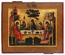 Icon of the Hospitality of Abraham. Tempera on panel. Russia, 18th century.