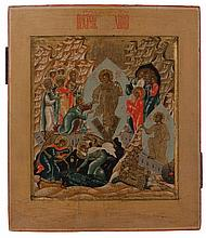 Icon of the Resurrection of Christ in mountainous landscape. Tempera on panel. Russia, circa 1800. Elaborate composition depicting Christ descending into the underworld and taking Adam by the wrist, the Resurrection in the lower right, the victory of