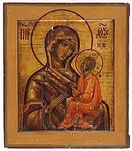 Tichvinskaya icon of the Mother of God. Tempera on panel. Russia, 19th century work. Small losses of paint.