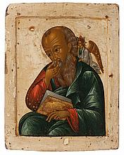 Icon of Saint John in silence, an angel behind his left shoulder. Tempera on panel. Russia, 18th century.