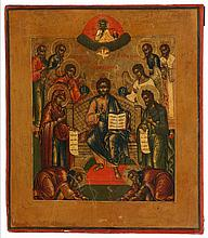 Icon of the extended Deesis. Tempera on panel. Russia, mid 19th century.