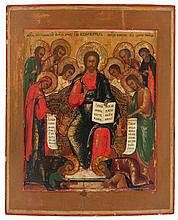 Icon of the extended Deesis, the Christ Pantocrator flanked by Saint John and Mary, two angels and four apostles, in the lower part the kneeling saints Zosima and Savatii. Tempera on panel. Russia, circa 1800. Provenance: Sale Paul Brandt, 17.5.1983