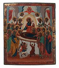 Icon of the Assumption of the Mother of God, surrounded by apostles, arcangels Michael and Gabriel and bishops, in the borders a monk and saint Tatiana to the left and a bisop and saint Paraskeva to the right. Tempera on panel. Late 18th/early 19th