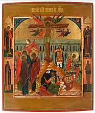 Icon of the Crucifixion, the arcangels Michael and Gabriel and saints Nyphont and Onuphrius in the border. The cross is set in architectural surroundings, Christ is flanked by six angels, Roman soldiers with lance and sponge to the right, Mary, Saint