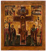 Stavroteka icon of the Crucifixion set with a wooden cross surrounded by Mary Magdalene, the Mother of God, saint John, saints and angels, the Descent from the Cross in the upper left and the Entombment in the upper right. Tempera on panel. Russia,