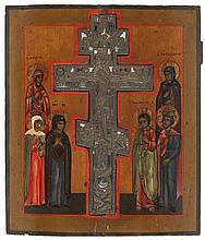 Stavroteka icon of the Crucifixion set with a copper cross (traces of enamel) surrounded by Mary Magdalene, the Mother of God and empress Helena to the left and saints Eudokia, John and emperor Constantin to the right. Tempera on panel. Russia, 19th