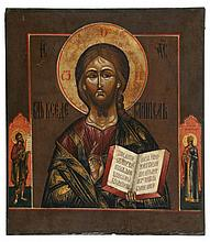 Icon of Christ Pantocrator, the border painted with two saints. Tempera on panel. Russia, 19th century.