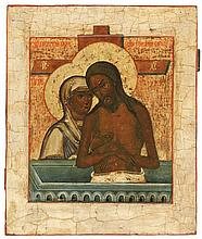 Icon of the Weep not for me Mother of God. Tempera on panel. Central Russia, late 18th century.