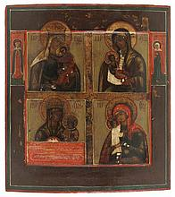 Icon of the Mother of God painted in four panels, the borders painted with two saints. Tempera on panel. Russia, first half of the 19th century.
