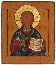 Icon of Christ Pantocrator. Tempera on panel. Russia, 19th century.