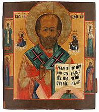 Icon of Saint Nicholas the miracle worker, flanked by Christ to the left and the Virgin to the right, the borders painted with four saints. Tempera on panel. Russia, mid 19th century.