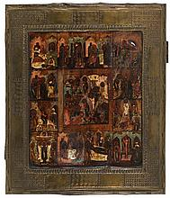 Icon of the Anastasis (depicting the Resurrection and the Descend into the Underworld) with twelve lithurgical feasts. Tempera on panel. Copper oklad. Russia, 19th century.