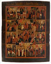 Icon of the Anastasis (depicting the Resurrection and the Descend into the Underworld) with twelve lithurgical feasts, the spandrels showing the evangelists. Tempera on panel. Russia, circa 1800.