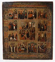 Icon of the Anastasis (depicting the Resurrection and the Descend into the Underworld) with twelve lithurgical feasts. Tempera on panel. Southern Russia or the Ukraine, second half of the 19th century.