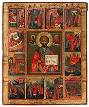 Icon of Saint Nicholas surrounded by twelve scenes from his life. Tempera on panel. Russia, first half of the 19th century.