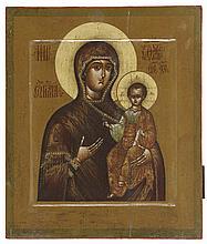 Smolenskaya icon of the Mother of God. Tempera on panel. Russia, circa 1900. Cracks.