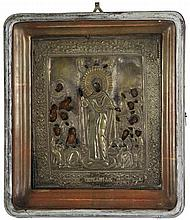 Icon of the Mother of God, Joy of All who Sorrow. Tempera on panel. Wooden kyot with copper oklad. Russia, mid 19th century.