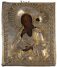 Icon of Saint John the Evangelist. Tempera on panel. Silver oklad with traces of gilding. Russia, 19th century.