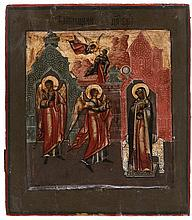 Icon of the Annunciation. Tempera on panel. Russia, 19th century. Eikon number 898.460 on the reverse. Touch-ups.
