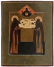 Icon of Zosima and Savvati presenting the Solovetski Monastery, the Mother of God of the Sign in the upper part. Tempera on panel. Russia, 19th century.
