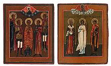 Lot of two various Russian house icons, tempera on panel, the first of five martyrs (19th century, 16.2 x 13.5), the second of bishop Basil the Great, the guardian angel and martyr Boniface (late 18th century, 18 x 15), both with a blessing Christ in