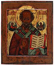 Icon of Saint Nicholas the miracle worker flanked by Christ to the left and the Virgin to the right. Tempera on panel. Russia, circa 1800.