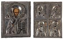 Two various house Russian icons of Saint Nicholas the miracle worker (circa 1900, 11.5 x 9) and a quadripartite icon of Christ and the saints Nicholas, Zosima and Savatii (circa 1800, 11.5 x 9). Tempera on panel. Silver oklads.