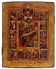 Icon of the Anastasis with fifteen lithurgical feasts. Tempera on panel. Russia, circa 1800. The central image depicting the Resurrection and the Descend into the Underworld, surrounded by fifteen feasts, the Old Testament trinity in shaped medallion
