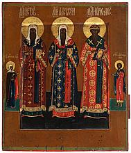 Icon of three church fathers among who the metropolitan Peter and Alexis, two saints in the borders. Tempera on panel. Russia, late 19th century.