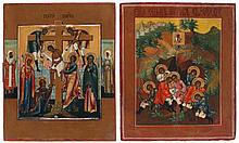 Lot of two various Russian house icons, tempera on panel, the first of the Descent from the Cross, in the borders saint Peter of Moscow to the left and saint Tatiana to the right (19th century, 22.5 x 18.2), the second of the seven sleepers of