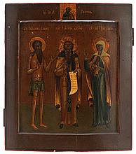 Icon of the saints John, Isaac and Fédossia. Tempera on panel. Russia, 18th century work.