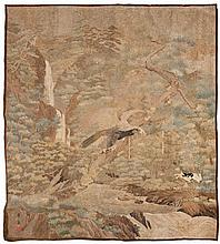 Chinese tapestry depicting a bird of prey hunting two rabbits in a wooded landscape with waterfall. Signature in the bottom left.