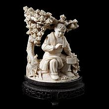 Man with scroll underneath a pine tree. Carved ivory. Chinese work. Ironwood stand.