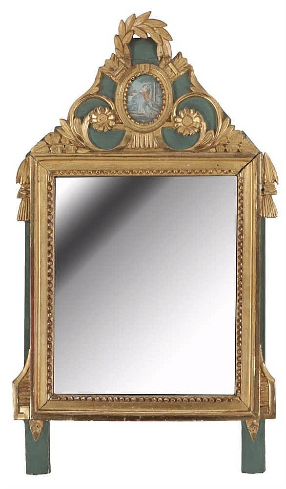 Mirror giltwood partly painted green set with a coloured for Miroir style louis xvi