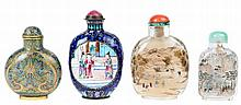 Lot of four various snuff bottles. The first in cloisonne enamel and metal (h.: 6.5) with Qianlong four-character mark, two in glass (h.: 6; 8) and the fourth in Canton enamel with court scenes in round medallions (h.: 8, circa 1830). Stoppers in