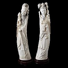Pair of dignitaries with rose branch. Carved ivory. Marked. Chinese work. Wooden stands. One rose branch restored.