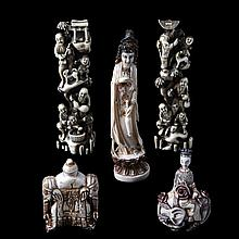 A set of various carved ivory objects, five in total, comprising two opium bottles (h.: 7.5;8), a standing Indian goddess (h.:16) and a pair of narrow groups with a family scene near a rock (h.: 15.5). Chinese work.