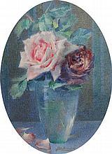 GEORGES BIERAND (1895-?)Stilleven met rozen in een vaas. Aquare