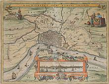 An early 17th century engraved plan of Antwerp by Pieter Van Den Keere edited by Visscher in 1624. Framed.