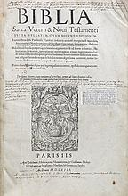 (bijbel) Biblia Sacra Veteris & Novi Testamenti. Parijs, Guillaume Merlin/ Guillaume Desboys, 1563. Gr. in-8°. Titelpagina, (6),508gen.pp. Met vijf houtsneden. Onvolledig.